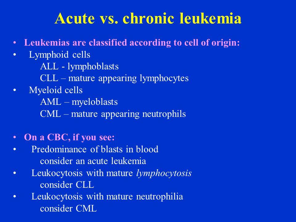 acute vs chronic leukemia essay This gives us four types of leukemia chronic myeloid leukemia, acute myeloid  leukemia, chronic lymphocytic leukemia, acute lymphocytic leukemia (peak.