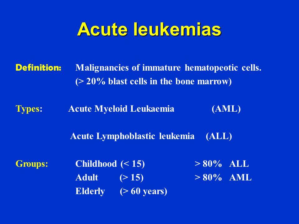 Acute leukemias Definition: Malignancies of immature hematopeotic cells. (> 20% blast cells in the bone marrow)