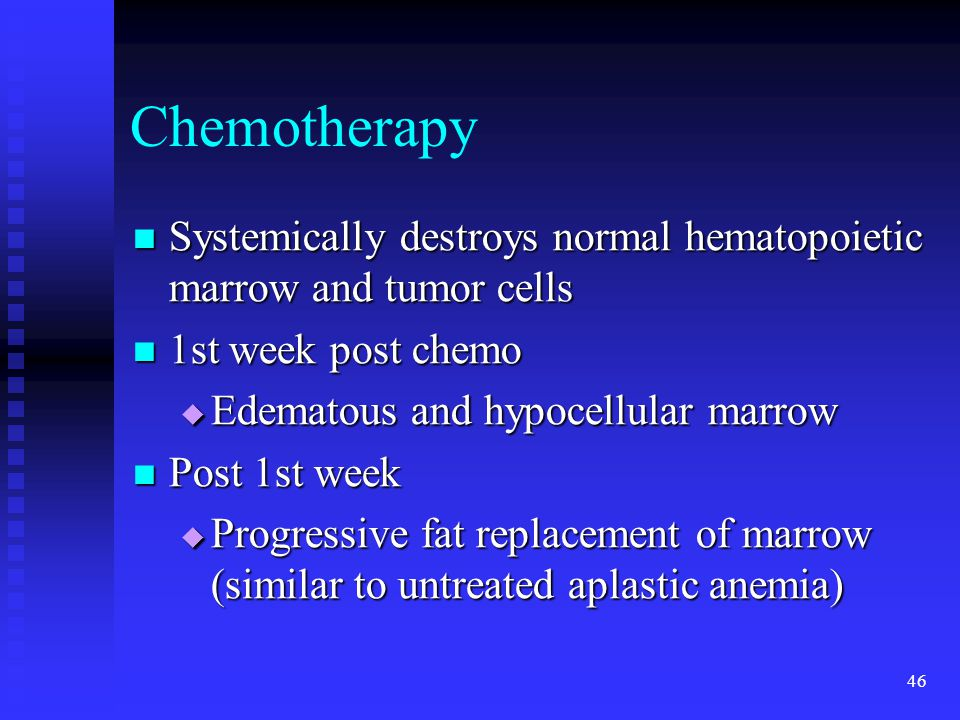 Chemotherapy Systemically destroys normal hematopoietic marrow and tumor cells. 1st week post chemo.