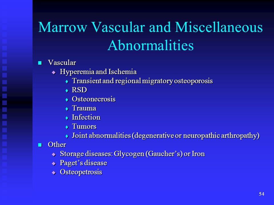 Marrow Vascular and Miscellaneous Abnormalities