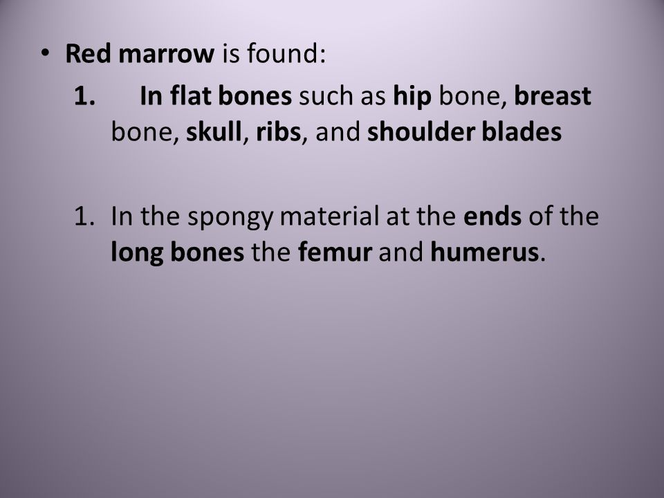 Red marrow is found: In flat bones such as hip bone, breast bone, skull, ribs, and shoulder blades.