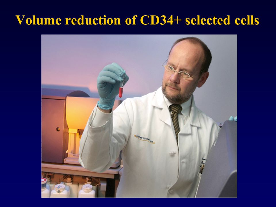 Volume reduction of CD34+ selected cells