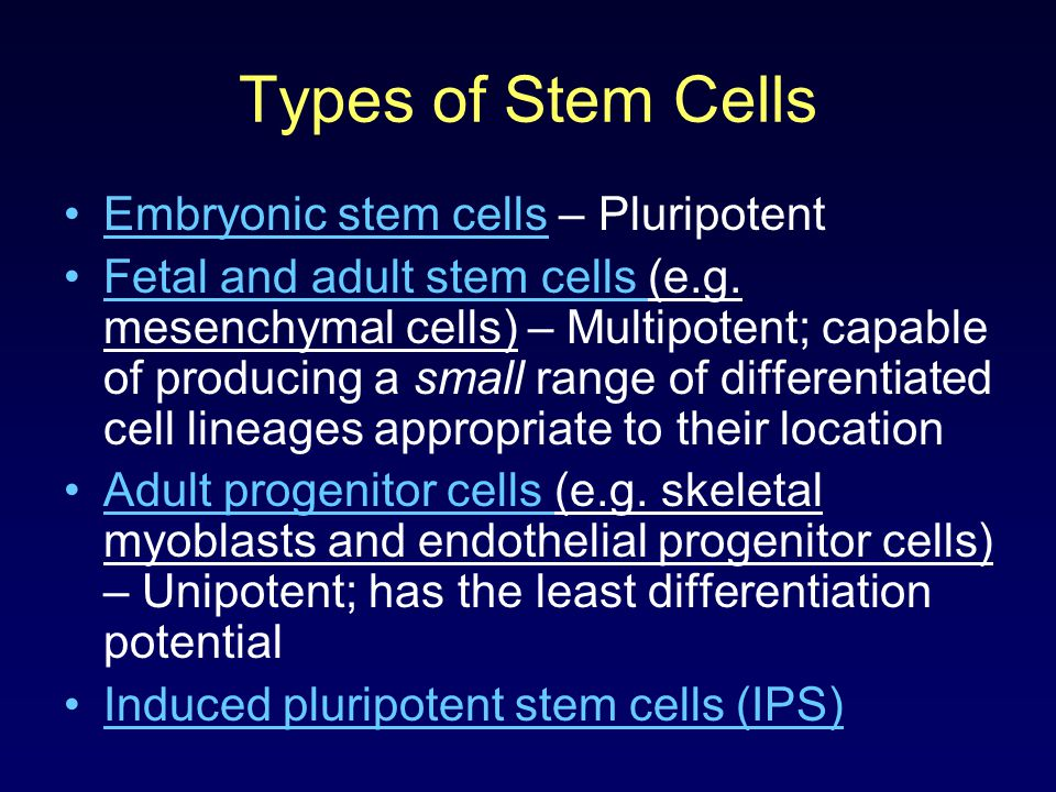 Types of Stem Cells Embryonic stem cells – Pluripotent