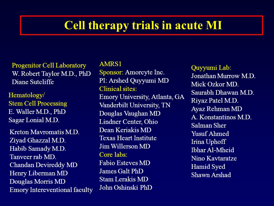 Cell therapy trials in acute MI
