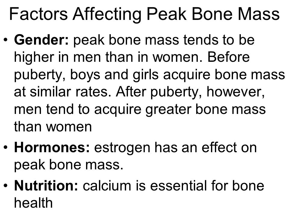 Factors Affecting Peak Bone Mass