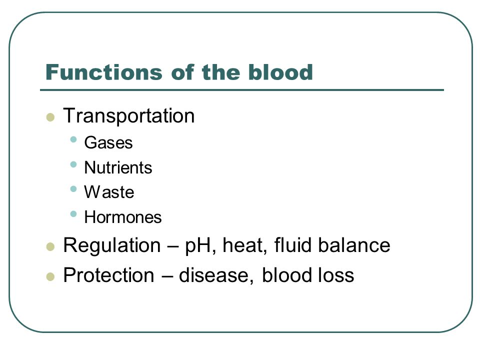 Functions of the blood Transportation