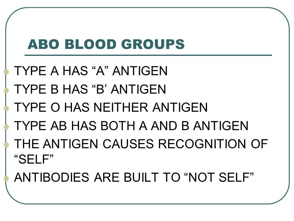 ABO BLOOD GROUPS TYPE A HAS A ANTIGEN TYPE B HAS B' ANTIGEN
