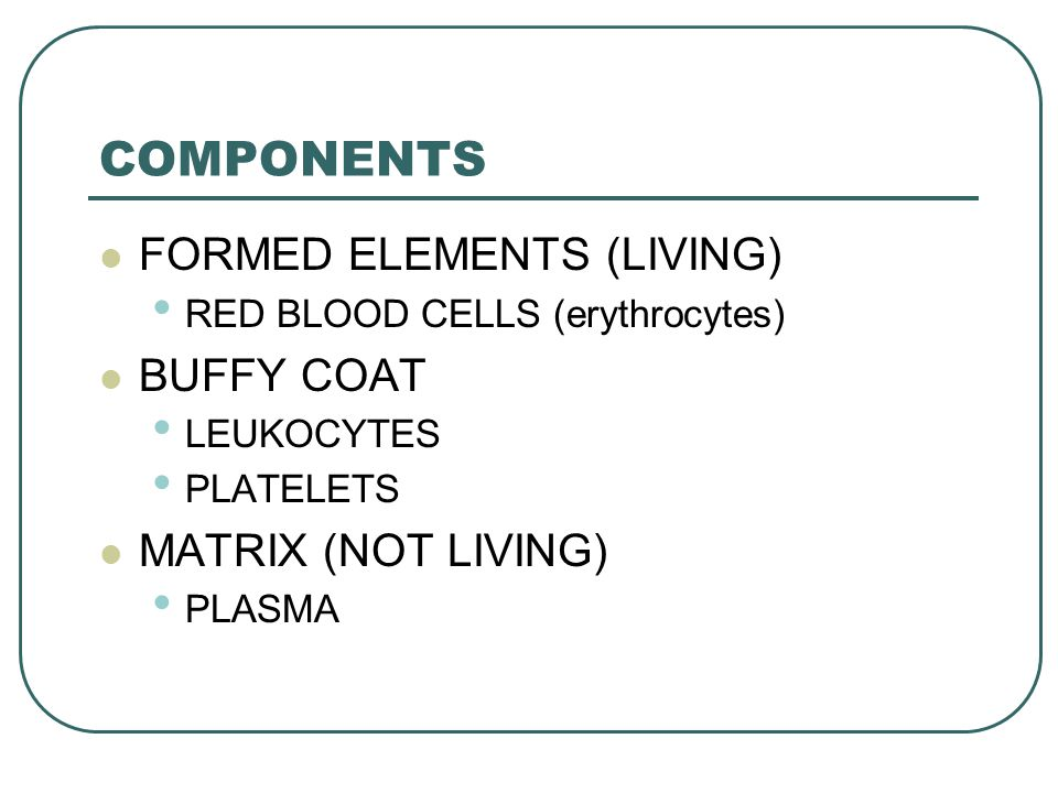 COMPONENTS FORMED ELEMENTS (LIVING) BUFFY COAT MATRIX (NOT LIVING)