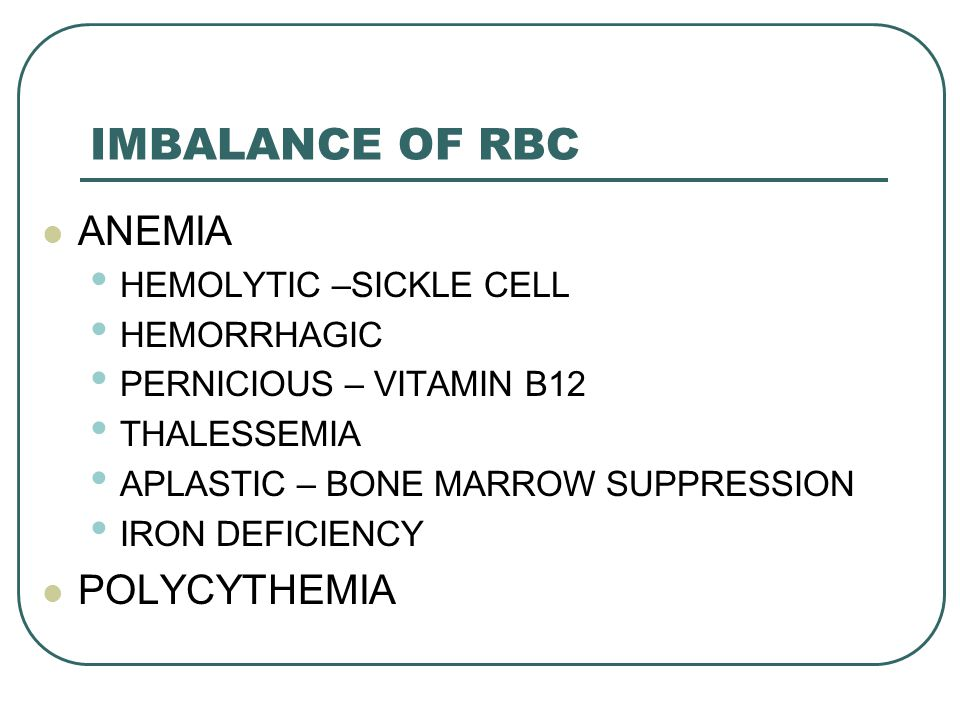 IMBALANCE OF RBC ANEMIA POLYCYTHEMIA HEMOLYTIC –SICKLE CELL
