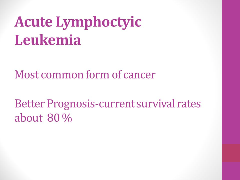 Acute Lymphoctyic Leukemia Most common form of cancer Better Prognosis-current survival rates about 80 %