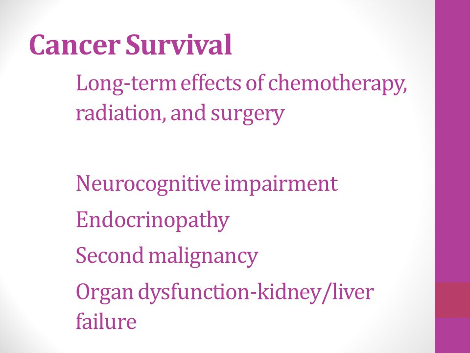 Cancer Survival. Long-term effects of chemotherapy,
