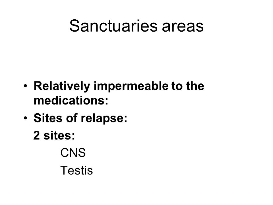 Sanctuaries areas Relatively impermeable to the medications: