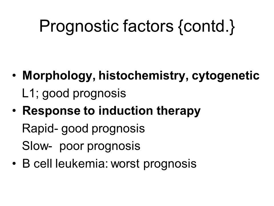 Prognostic factors {contd.}