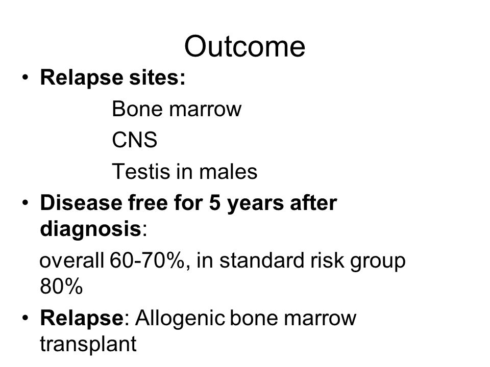 Outcome Relapse sites: Bone marrow CNS Testis in males