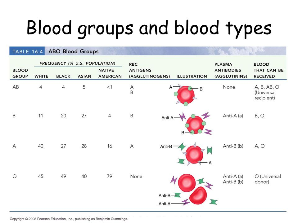 Blood groups and blood types