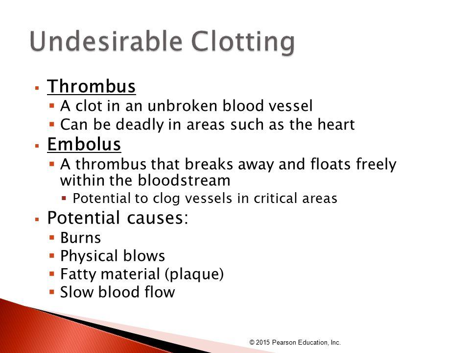 Undesirable Clotting Thrombus Embolus Potential causes: