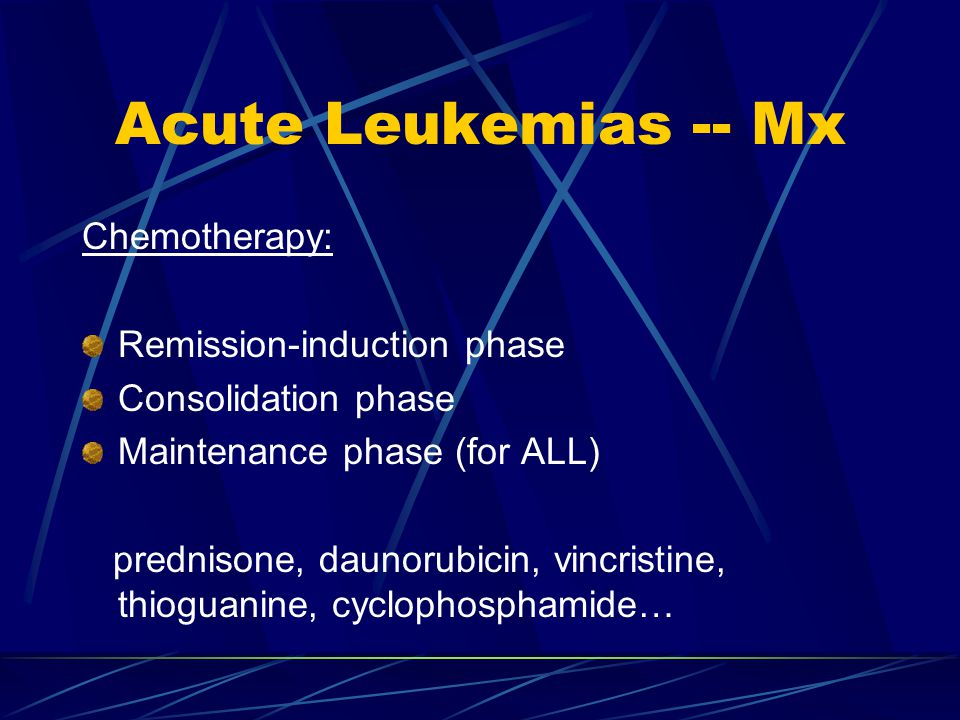 Acute Leukemias -- Mx Chemotherapy: Remission-induction phase