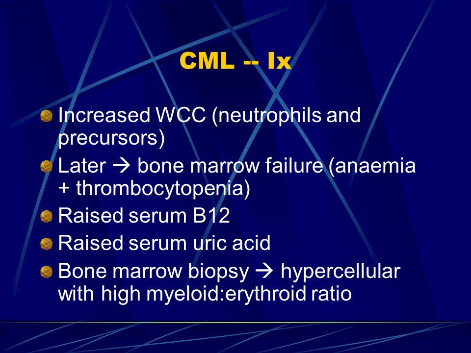 CML -- Ix Increased WCC (neutrophils and precursors)