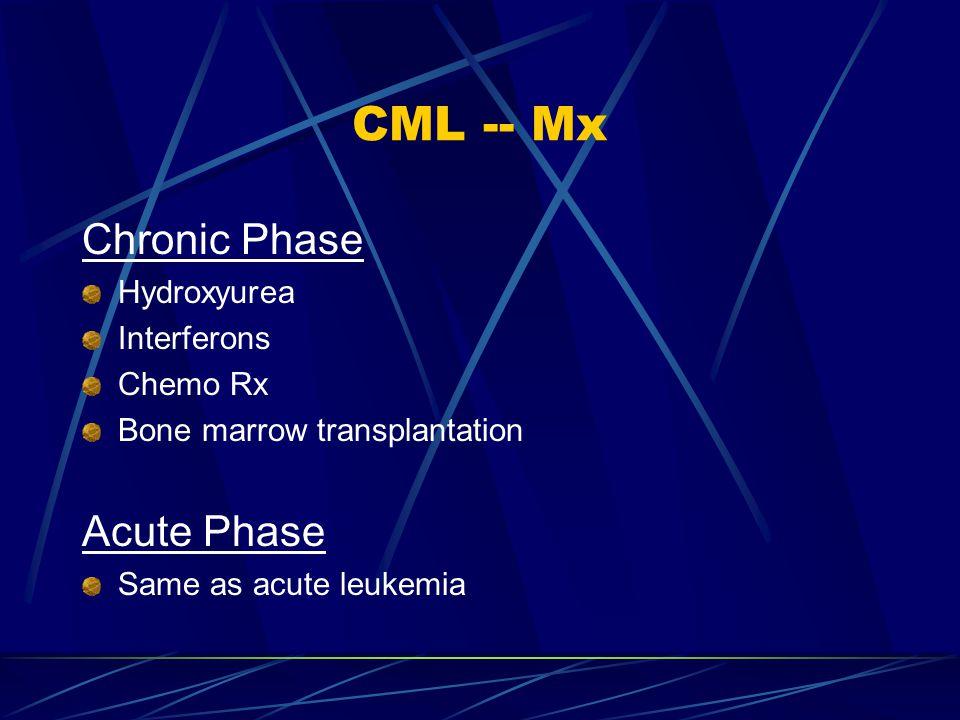 CML -- Mx Chronic Phase Acute Phase Hydroxyurea Interferons Chemo Rx