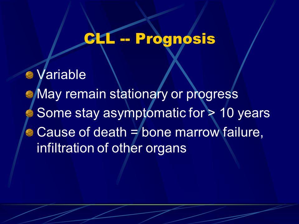 CLL -- Prognosis Variable May remain stationary or progress