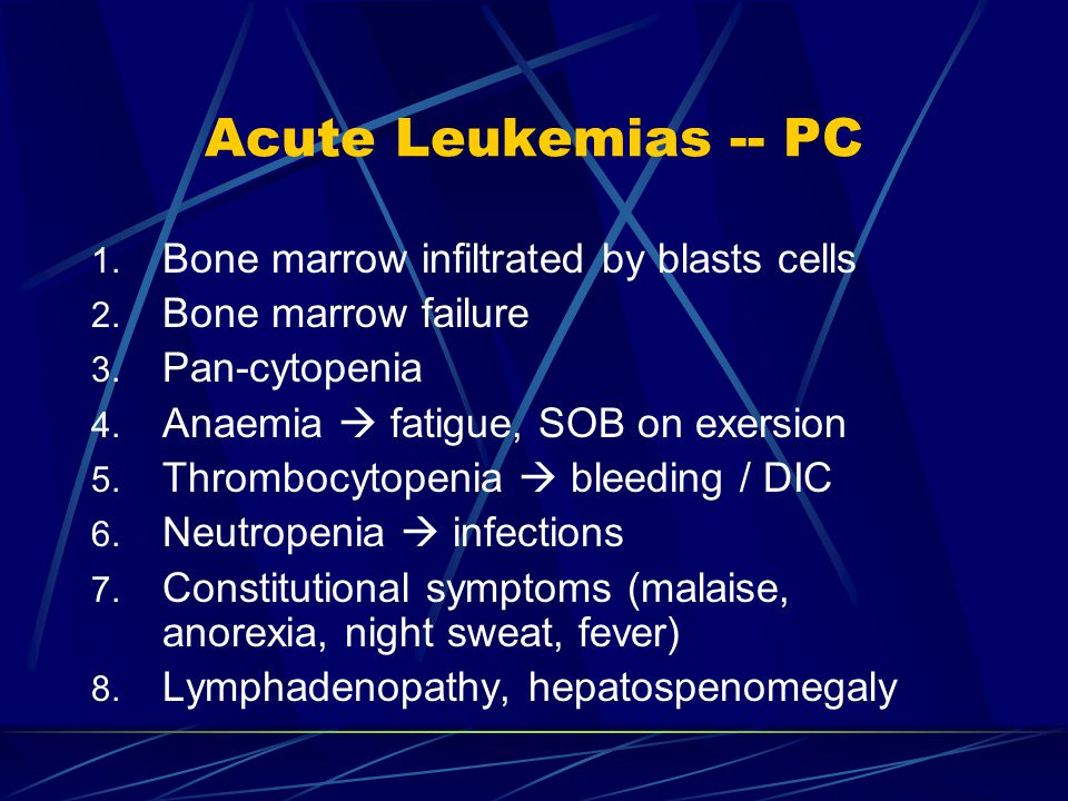 Acute Leukemias -- PC Bone marrow infiltrated by blasts cells