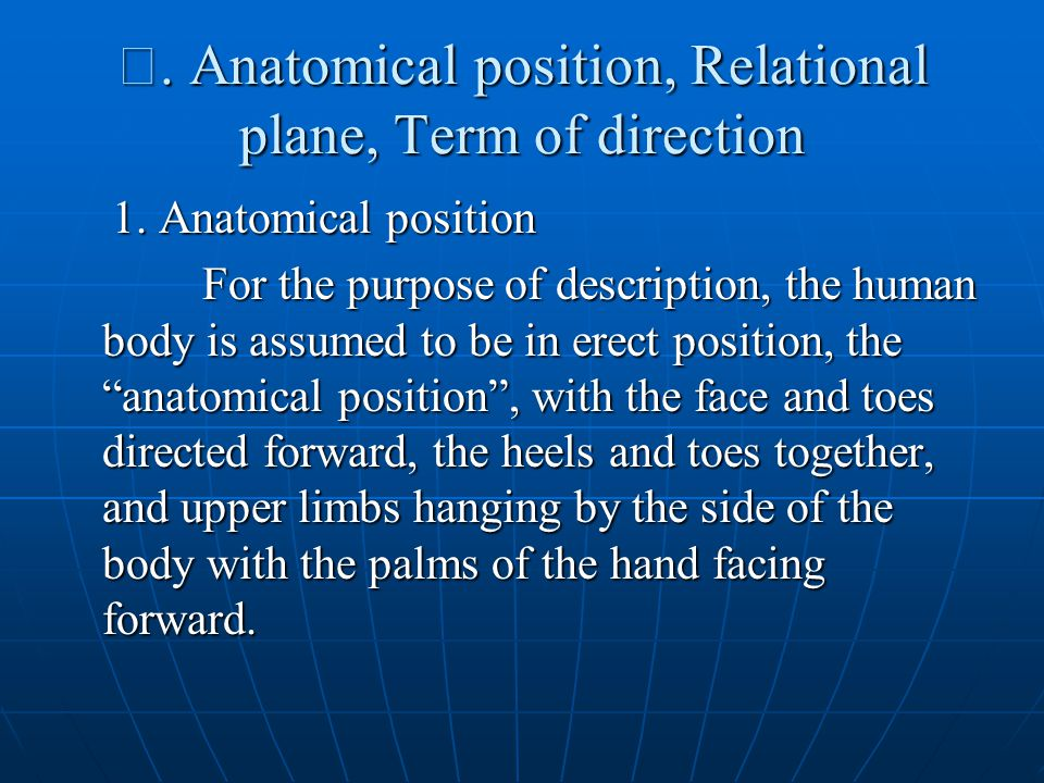 Ⅲ. Anatomical position, Relational plane, Term of direction