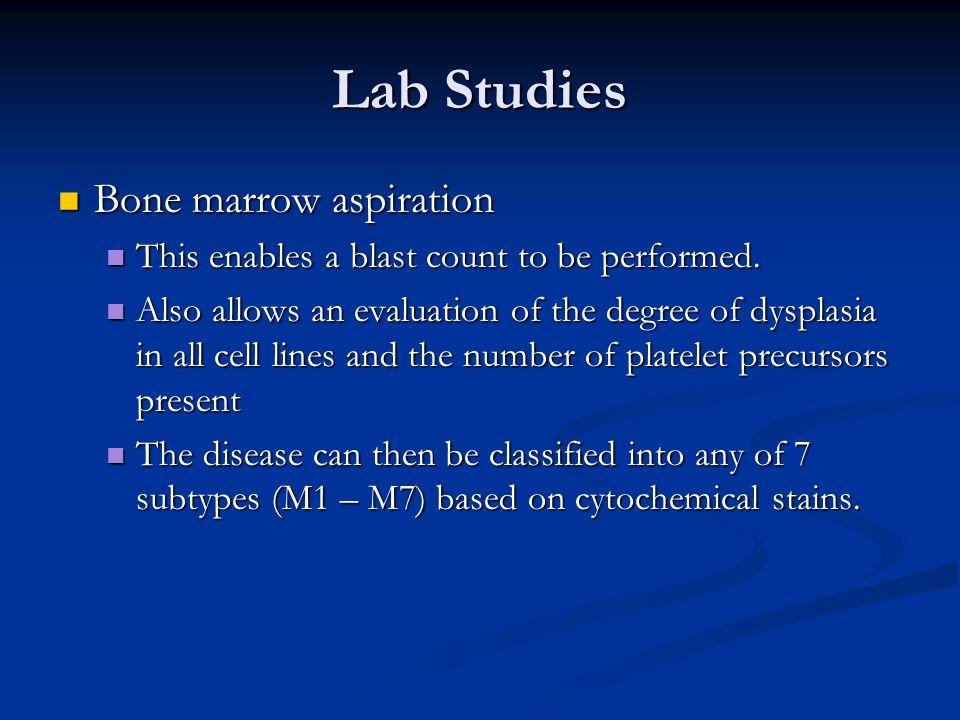 Lab Studies Bone marrow aspiration