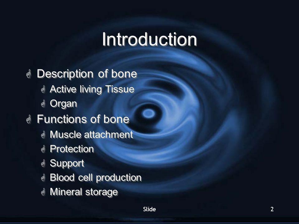Introduction Description of bone Functions of bone