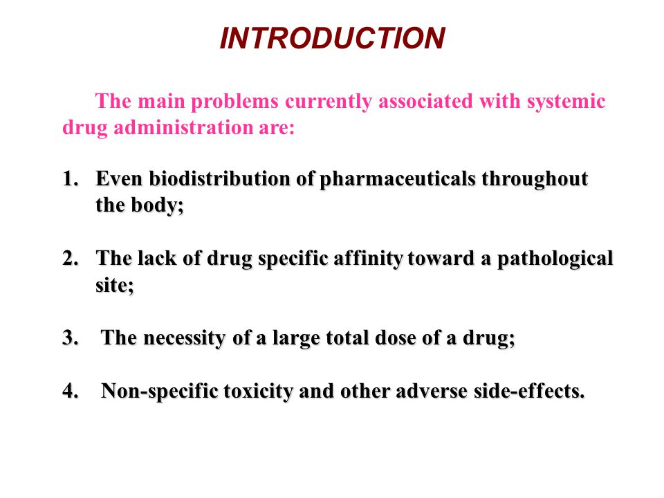 INTRODUCTION The main problems currently associated with systemic drug administration are: