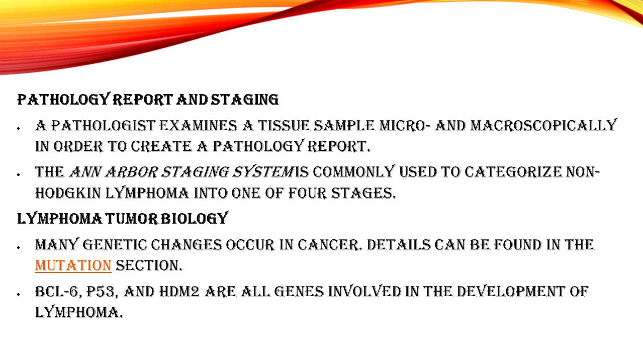 Pathology Report and Staging