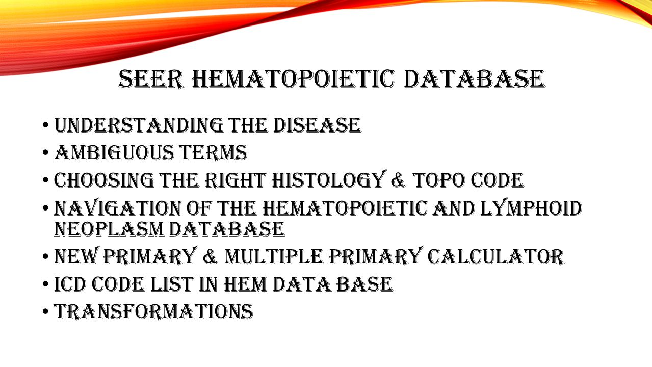 SEER HEMATOPOIETIC DATABASE