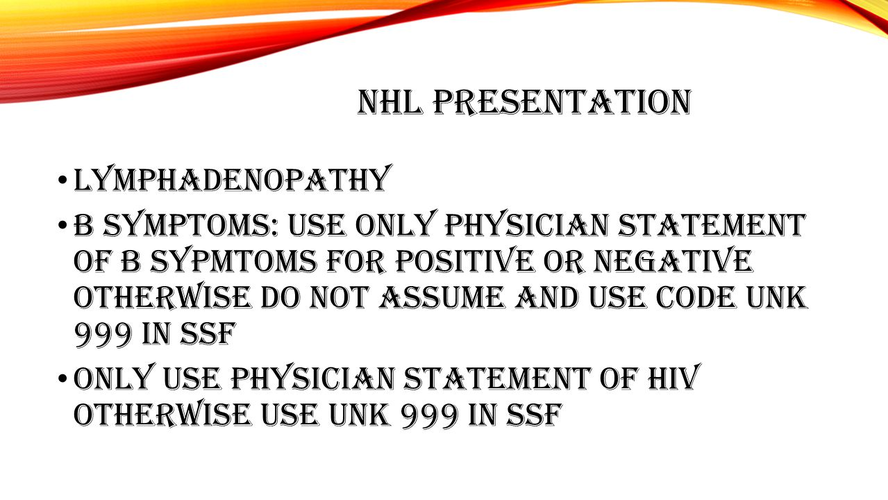 NHL PRESENTATION LYMPHADENOPATHY