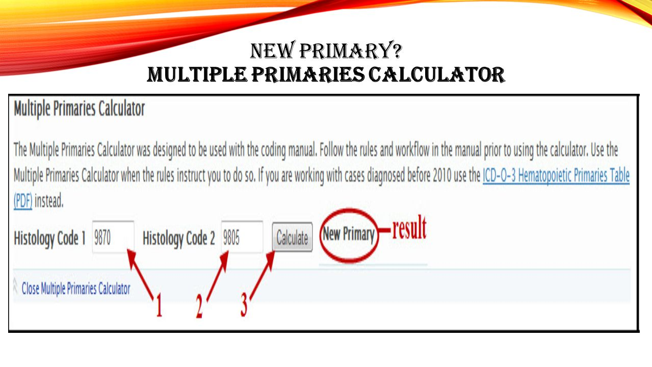 New primary Multiple Primaries Calculator
