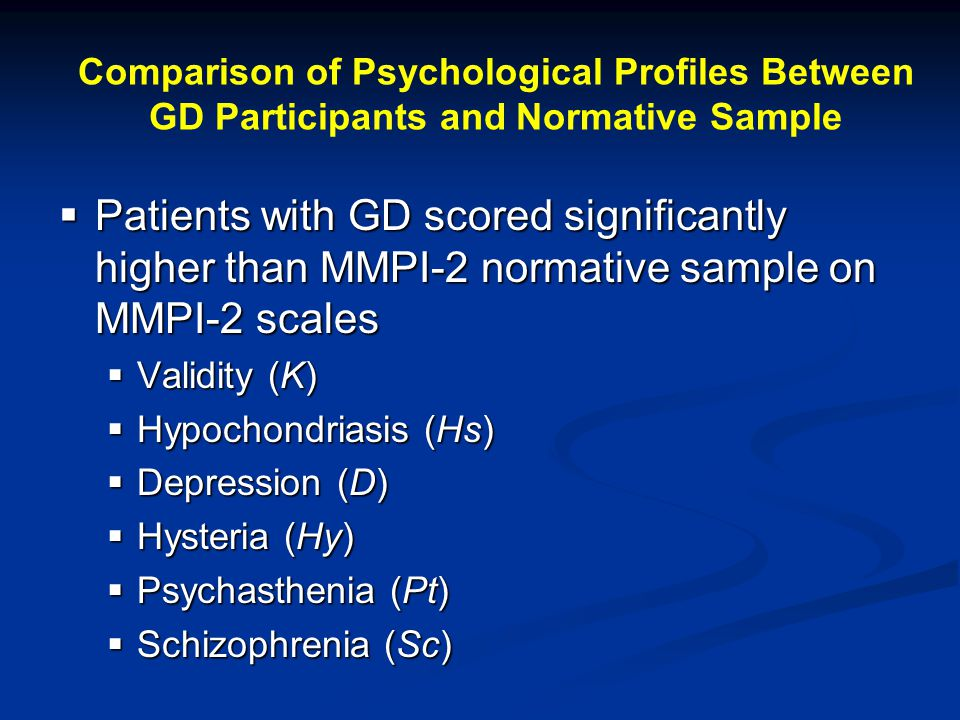 Comparison of Psychological Profiles Between GD Participants and Normative Sample