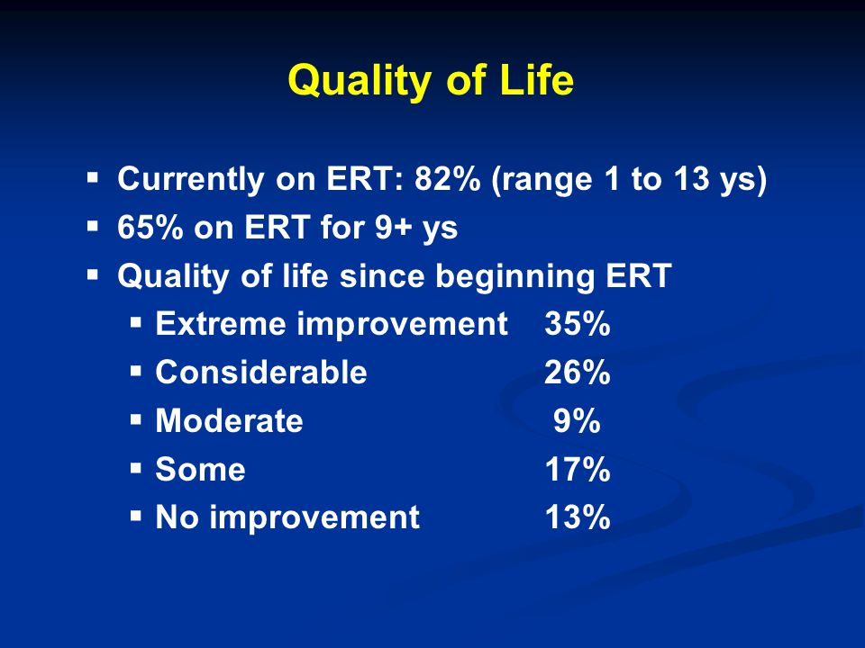 Quality of Life Currently on ERT: 82% (range 1 to 13 ys)