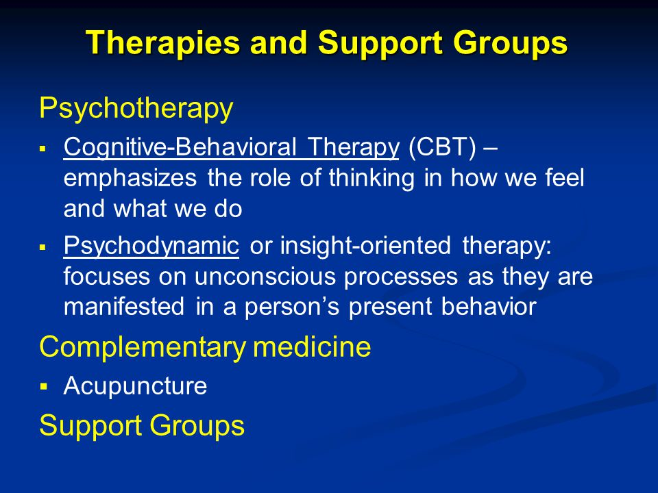 Therapies and Support Groups