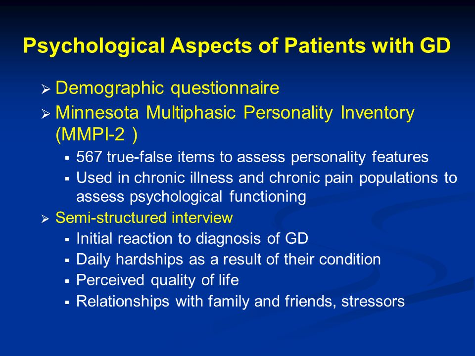 Psychological Aspects of Patients with GD
