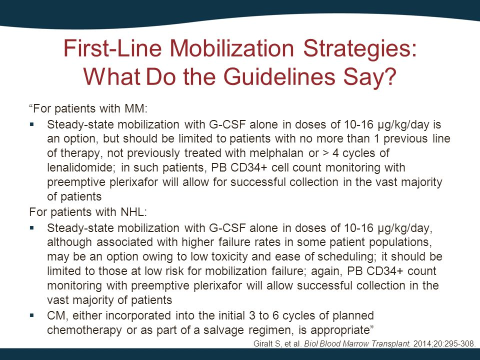 First-Line Mobilization Strategies: What Do the Guidelines Say