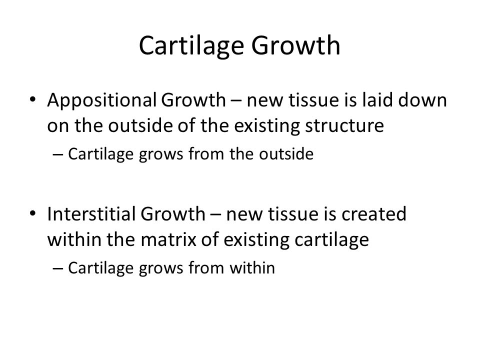 Cartilage Growth Appositional Growth – new tissue is laid down on the outside of the existing structure.