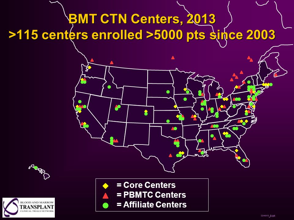 BMT CTN Centers, 2013 >115 centers enrolled >5000 pts since 2003