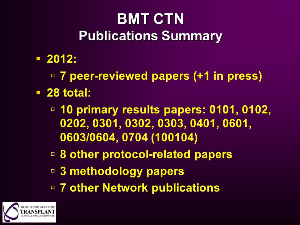 BMT CTN Publications Summary