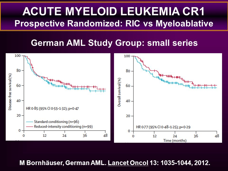 ACUTE MYELOID LEUKEMIA CR1 Prospective Randomized: RIC vs Myeloablative