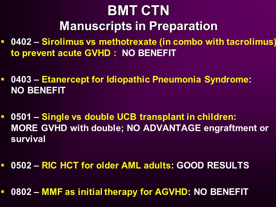 BMT CTN Manuscripts in Preparation