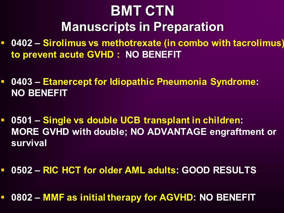BMT CTN Manuscripts in Preparation