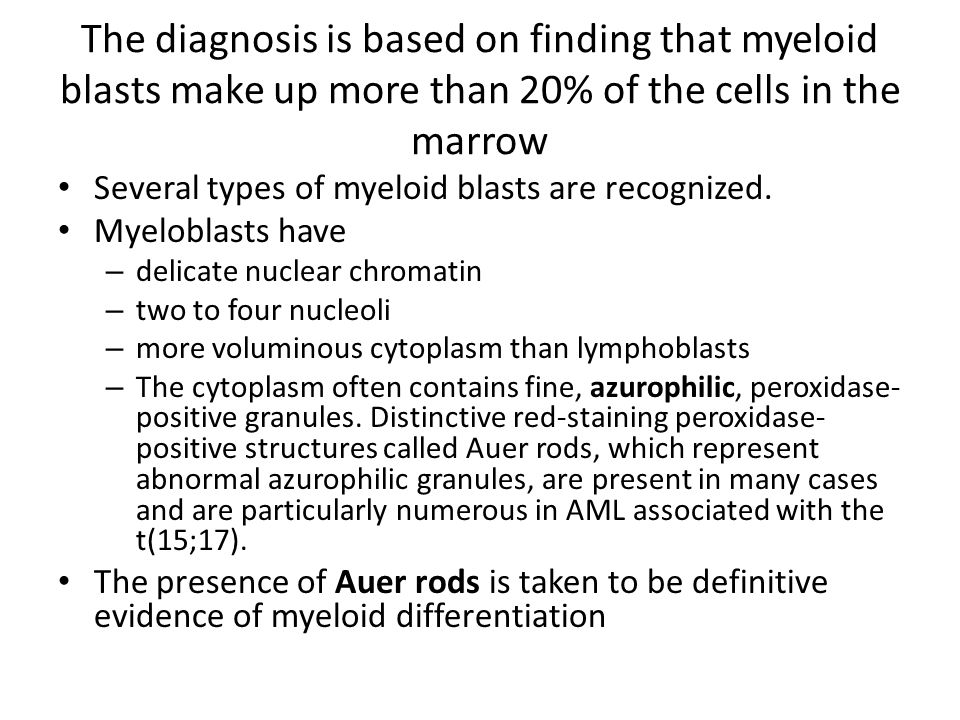 The diagnosis is based on finding that myeloid blasts make up more than 20% of the cells in the marrow