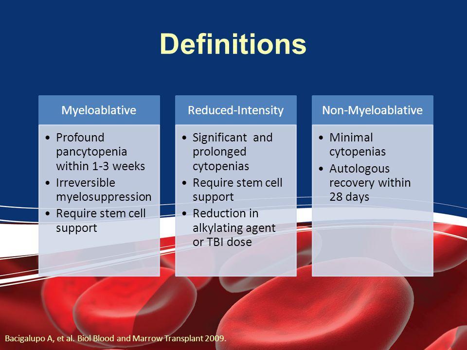 Definitions Myeloablative. Profound pancytopenia within 1-3 weeks. Irreversible myelosuppression.