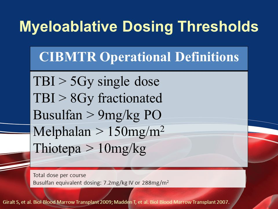Myeloablative Dosing Thresholds