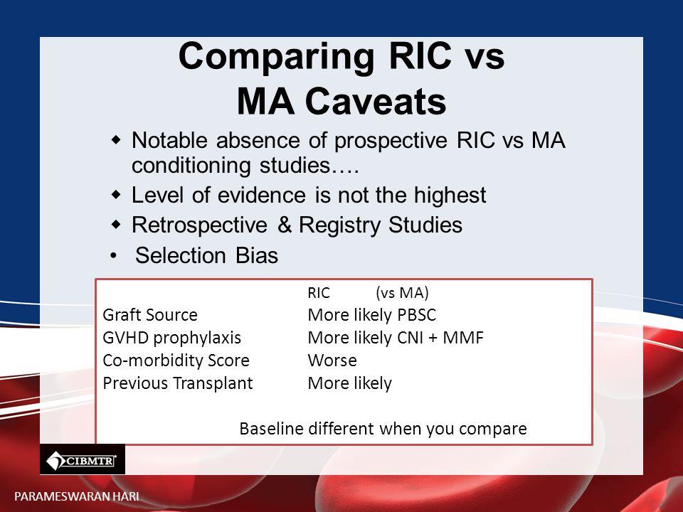 Comparing RIC vs MA Caveats