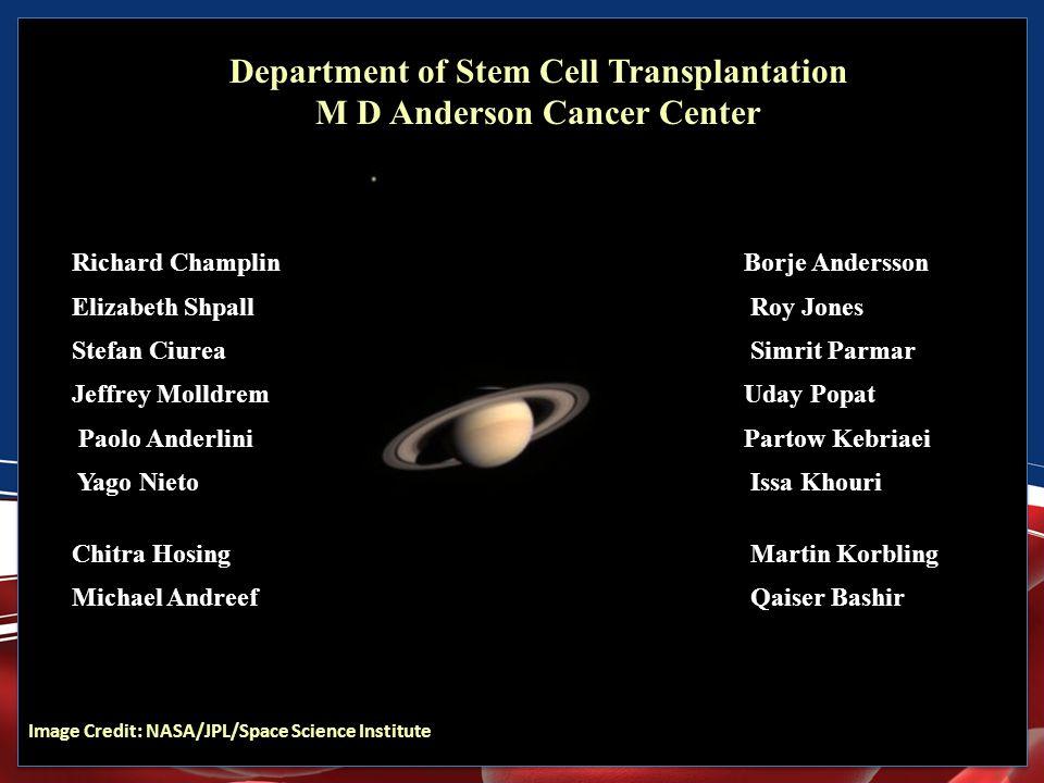 Department of Stem Cell Transplantation M D Anderson Cancer Center