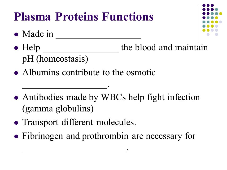 Plasma Proteins Functions
